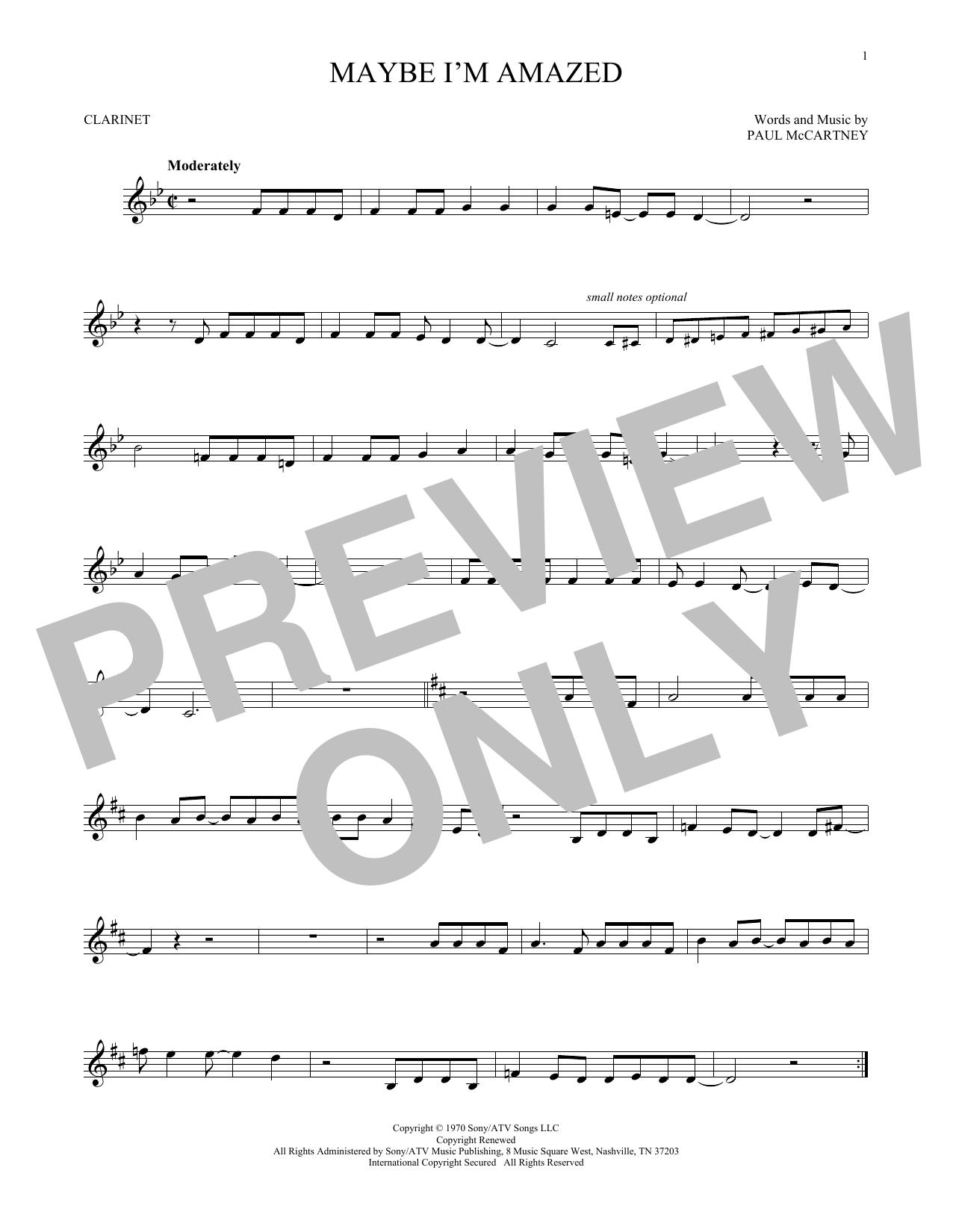 Partition clarinette Maybe I'm Amazed de Paul McCartney - Clarinette