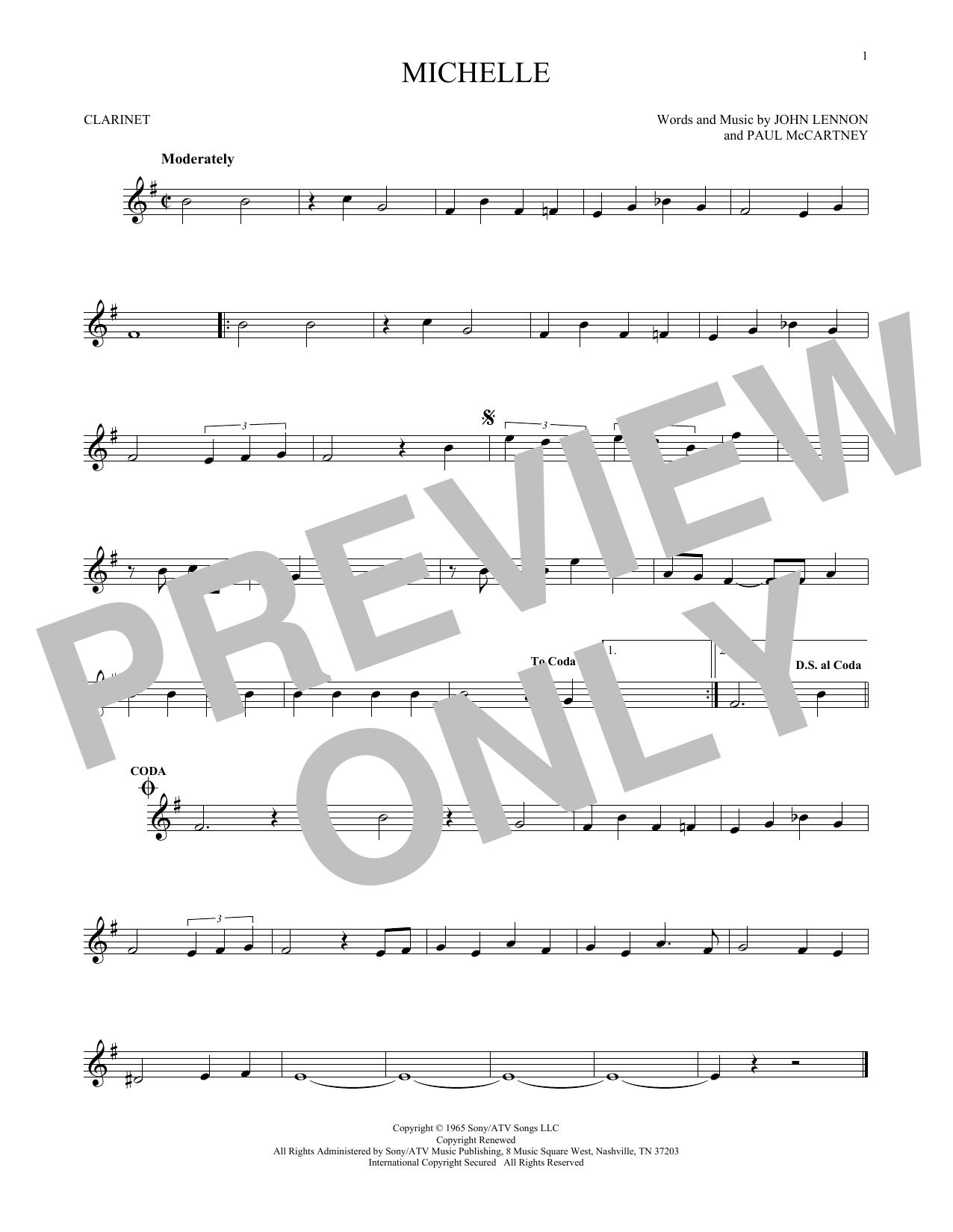 Partition clarinette Michelle de The Beatles - Clarinette