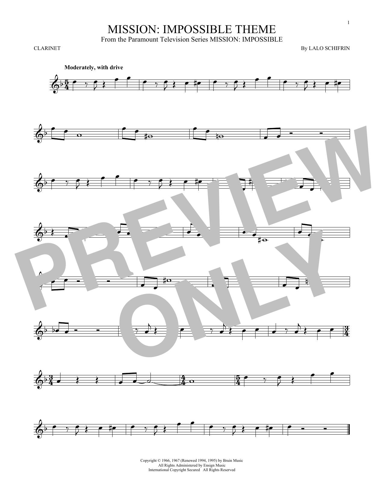 Partition clarinette Mission de Lalo Schifrin - Clarinette