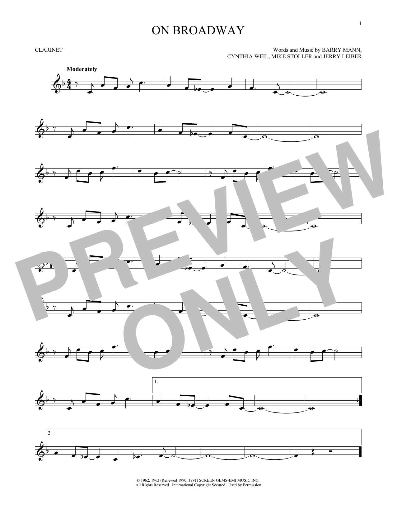 Partition clarinette On Broadway de George Benson - Clarinette