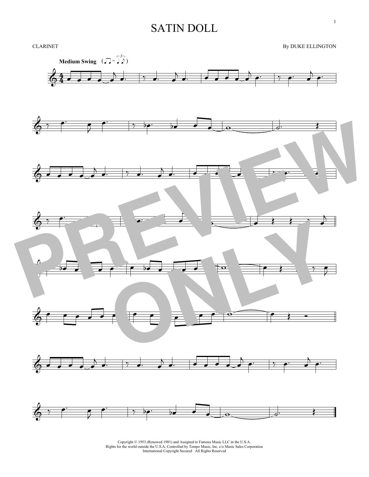 Partition clarinette Satin Doll de Duke Ellington - Clarinette