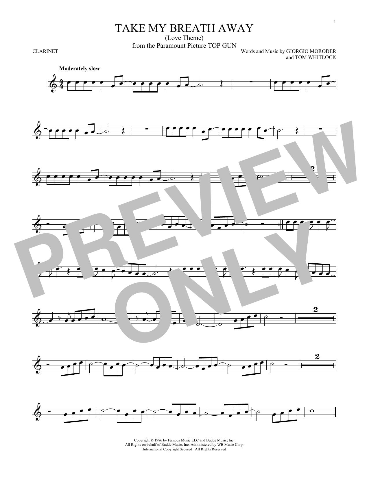 Partition clarinette Take My Breath Away (Love Theme) de Giorgio Moroder - Clarinette
