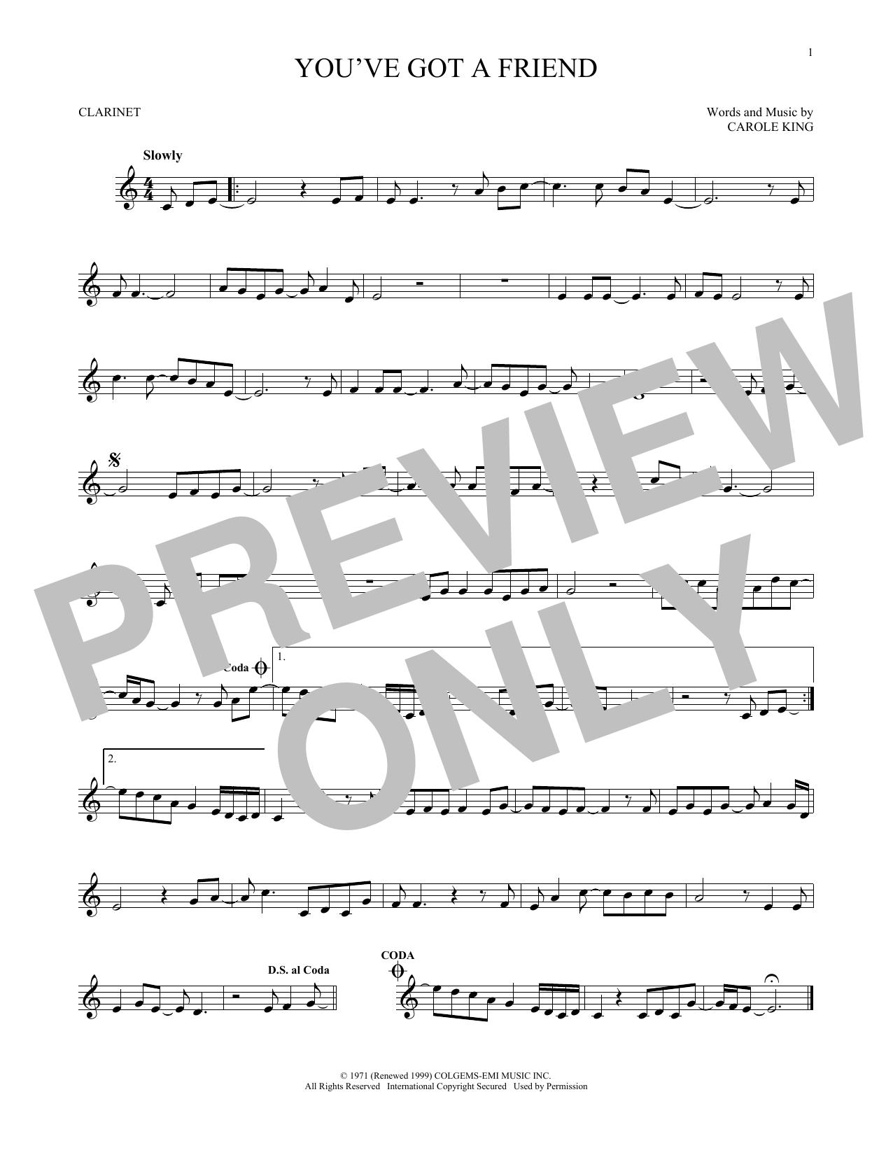 Partition clarinette You've Got A Friend de James Taylor - Clarinette