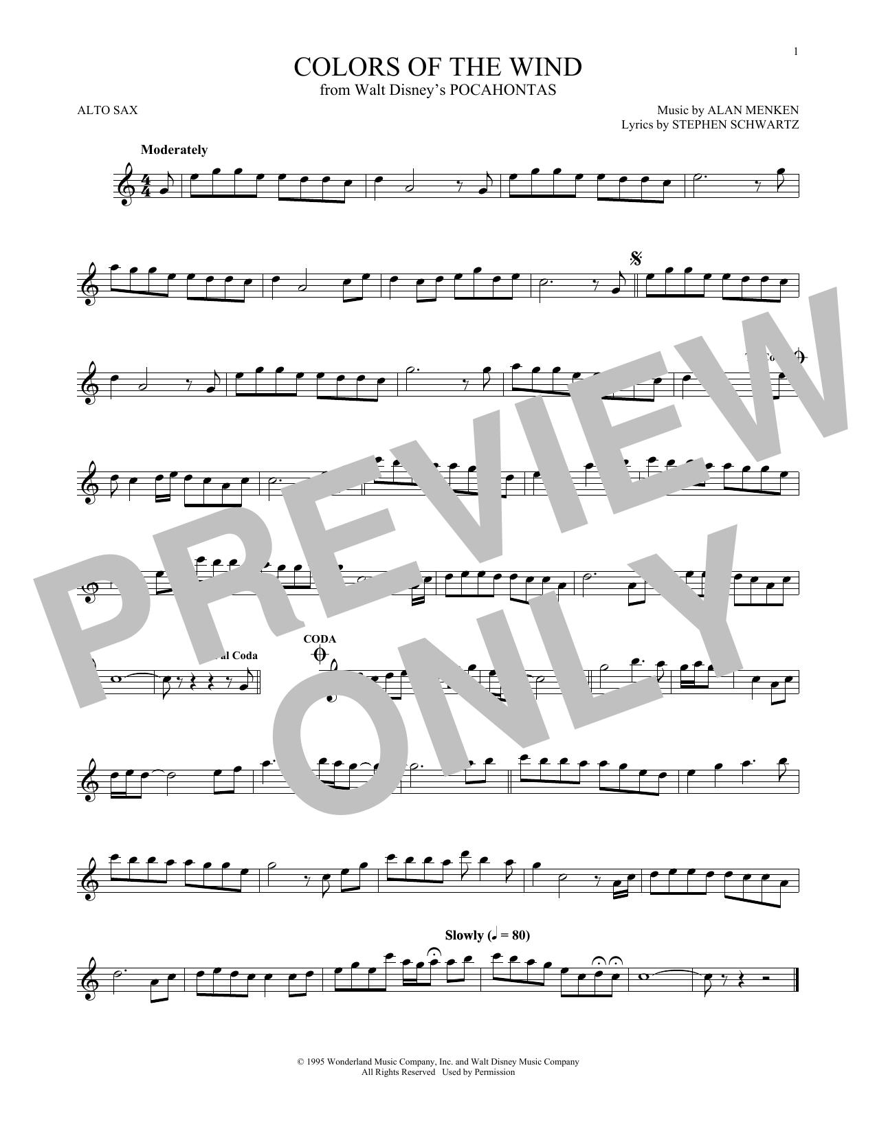 Partition saxophone Colors Of The Wind de Vanessa Williams - Sax Alto