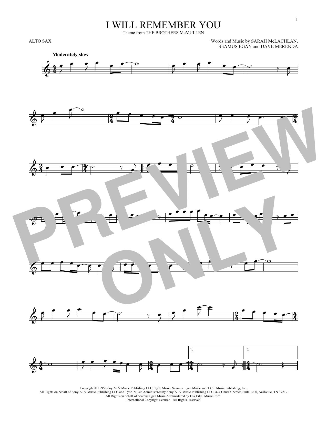 Partition saxophone I Will Remember You de Sarah McLachlan - Sax Alto