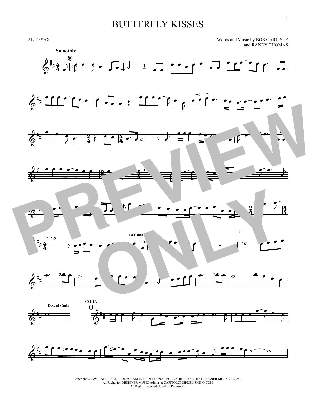 Partition saxophone Butterfly Kisses de Bob Carlisle - Sax Alto