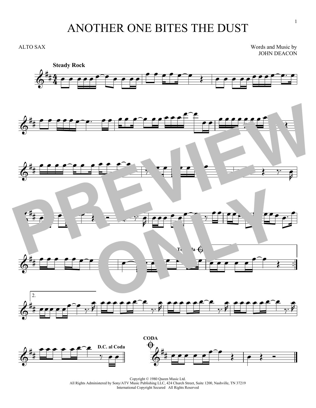 Partition saxophone Another One Bites The Dust de Queen - Sax Alto