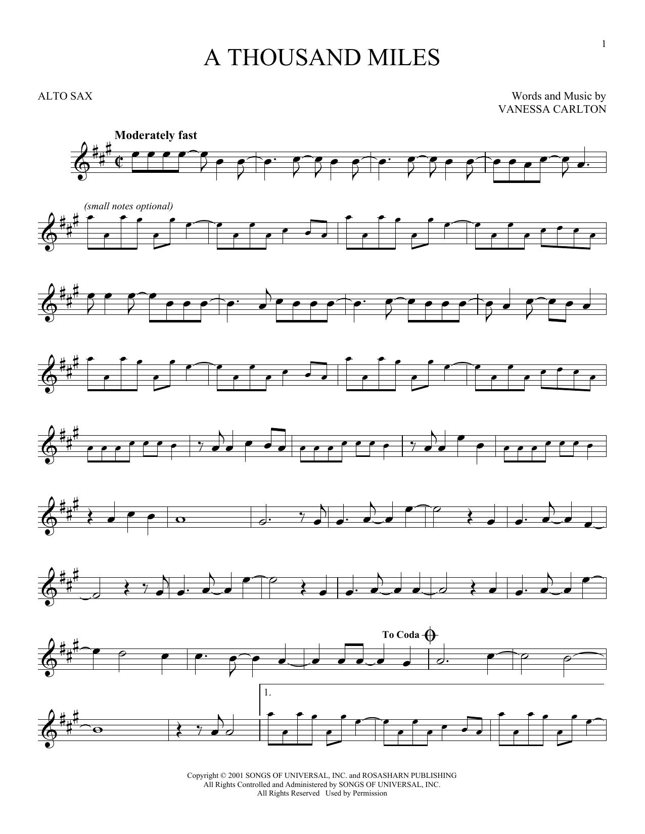Partition saxophone A Thousand Miles de Vanessa Carlton - Sax Alto