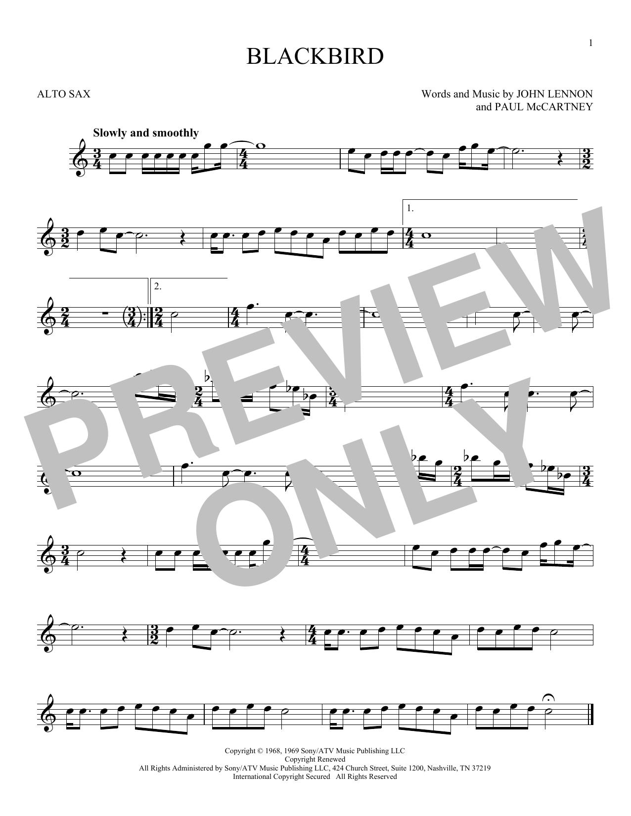 Partition saxophone Blackbird de The Beatles - Sax Alto