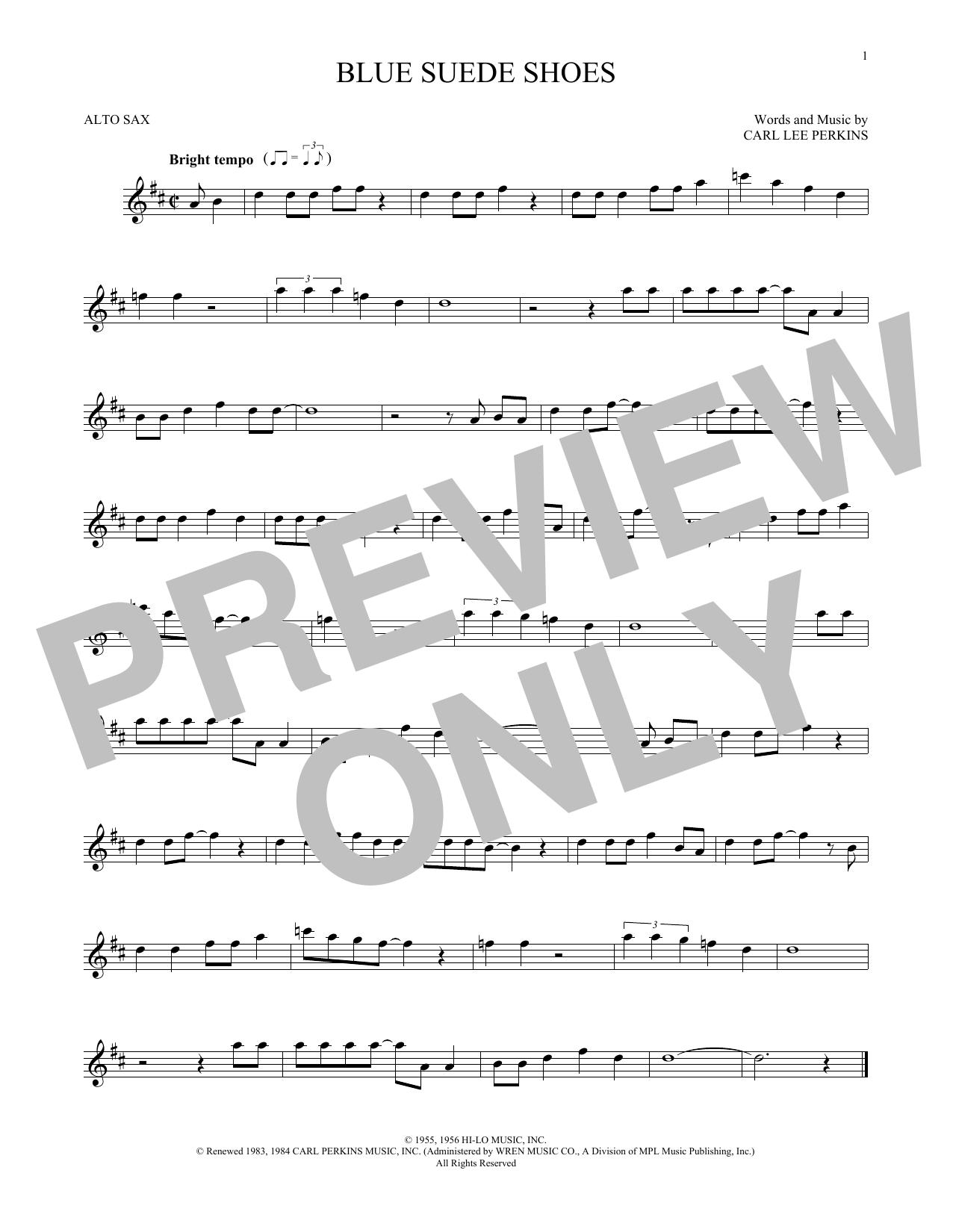 Partition saxophone Blue Suede Shoes de Carl Perkins - Sax Alto