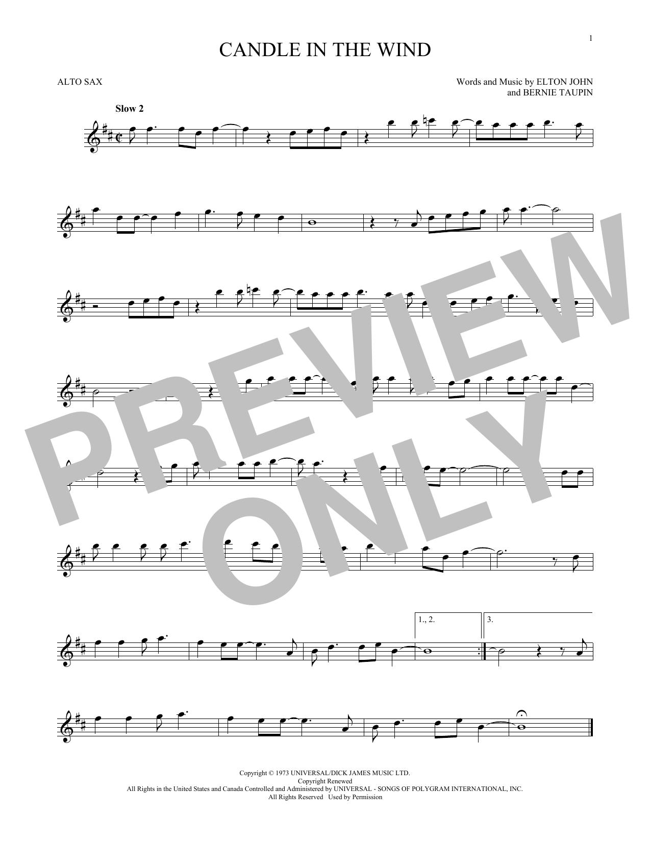Partition saxophone Candle In The Wind de Elton John - Sax Alto