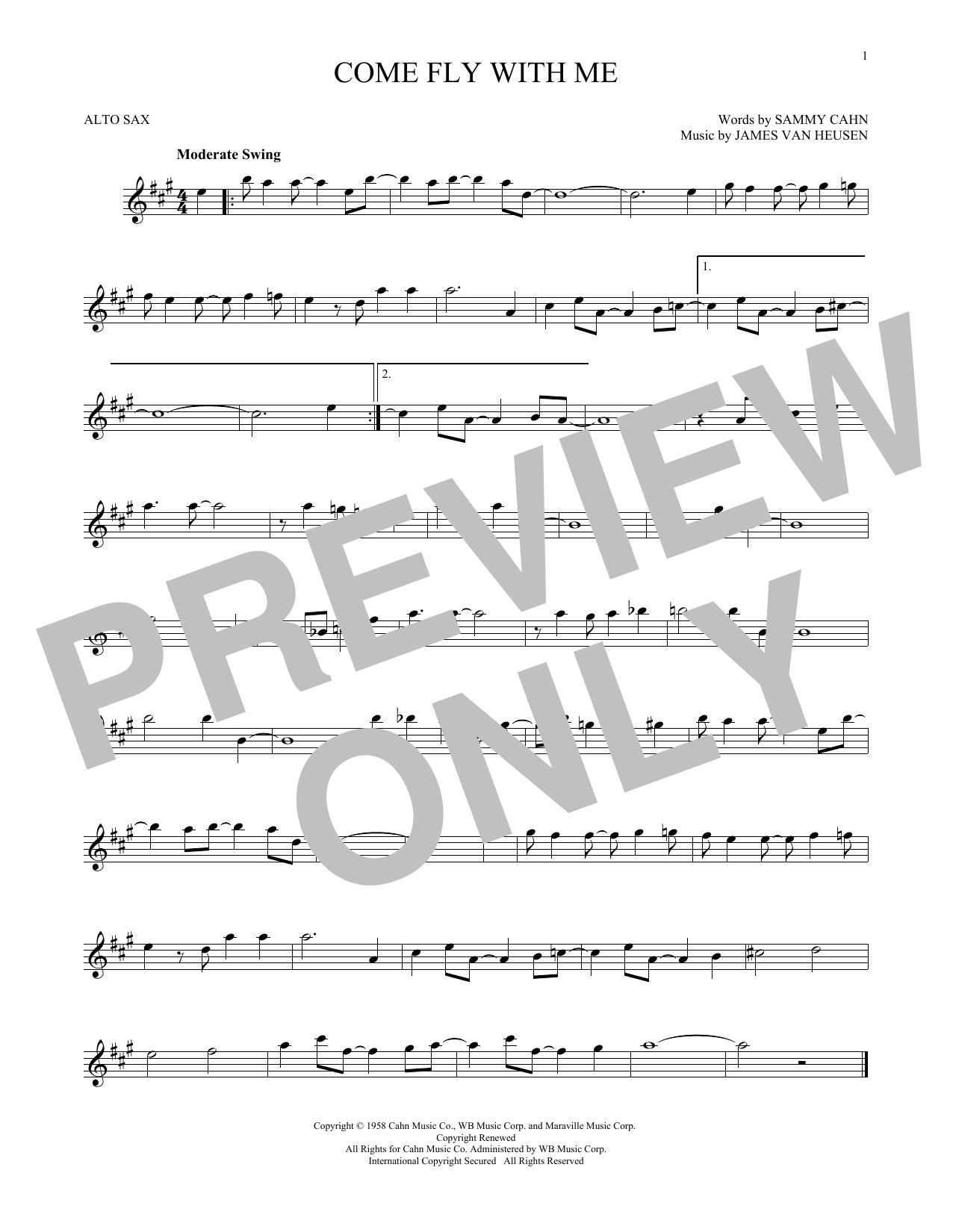 Partition saxophone Come Fly With Me de Frank Sinatra - Sax Alto