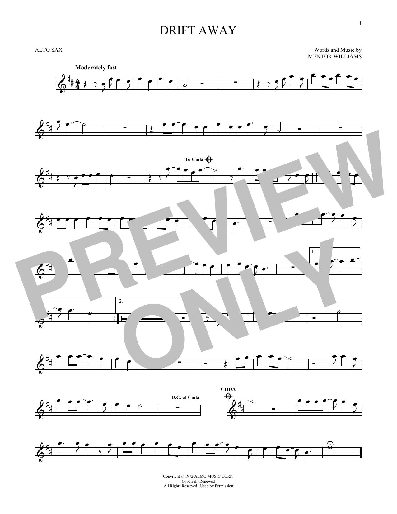 Partition saxophone Drift Away de Dobie Gray - Sax Alto