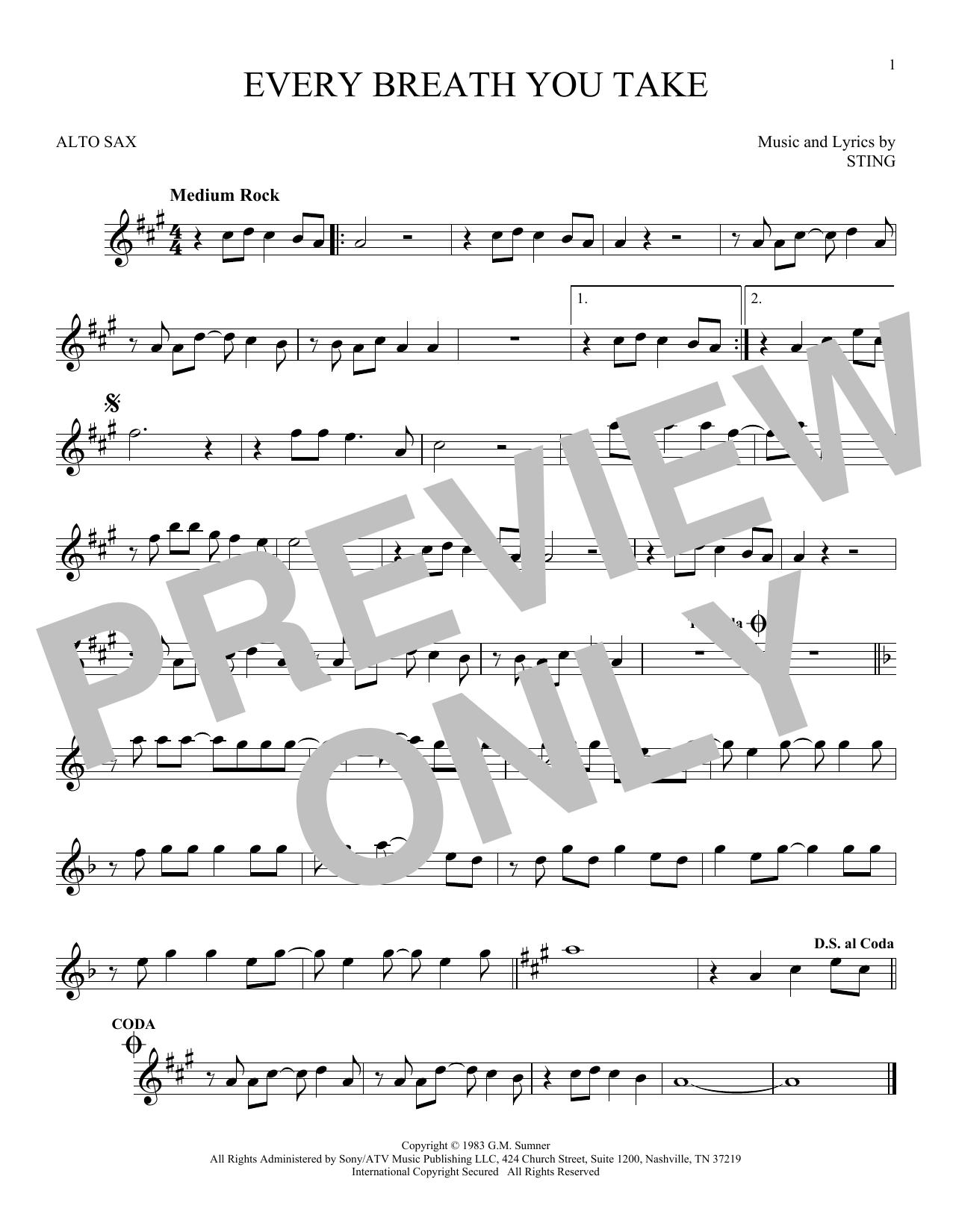 Partition saxophone Every Breath You Take de The Police - Sax Alto