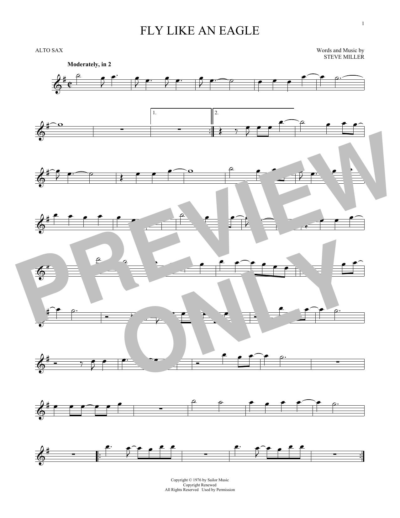 Partition saxophone Fly Like An Eagle de Steve Miller Band - Sax Alto