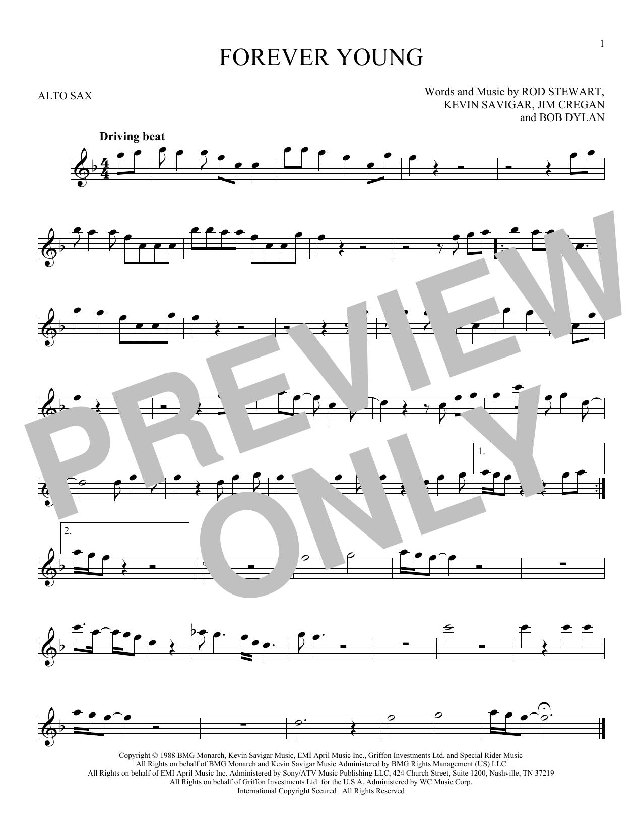 Partition saxophone Forever Young de Rod Stewart - Sax Alto