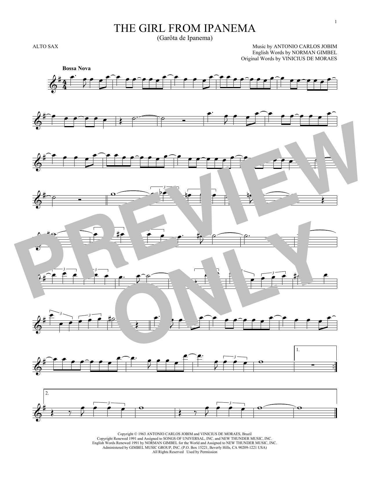 Partition saxophone The Girl From Ipanema de Antonio Carlos Jobim - Sax Alto