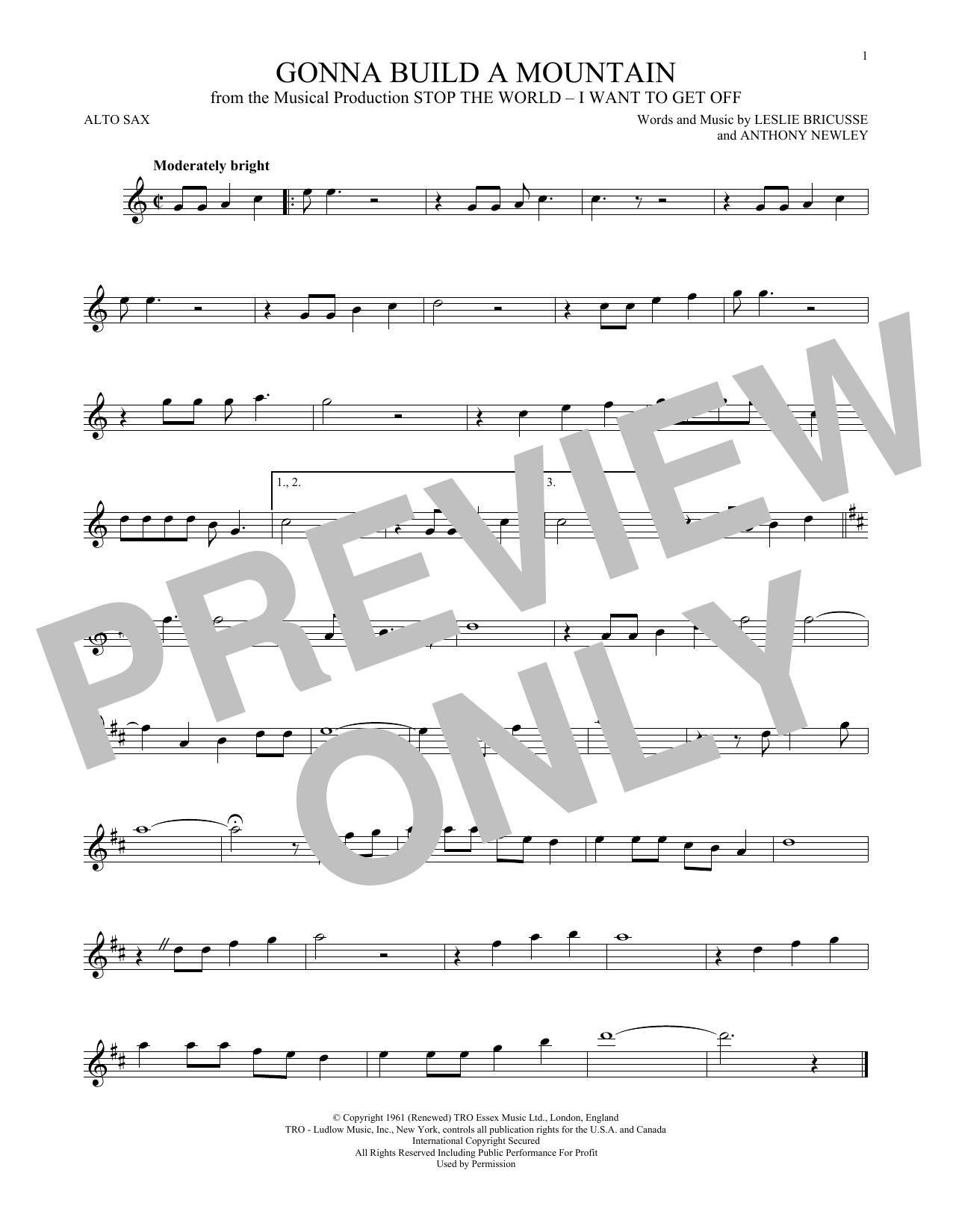 Partition saxophone Gonna Build A Mountain de Leslie Bricusse - Sax Alto