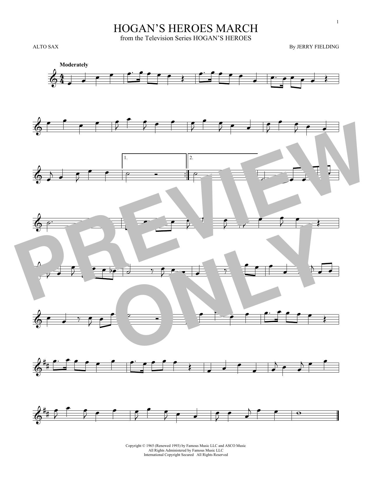 Partition saxophone Hogan's Heroes March de Jerry Fielding - Sax Alto