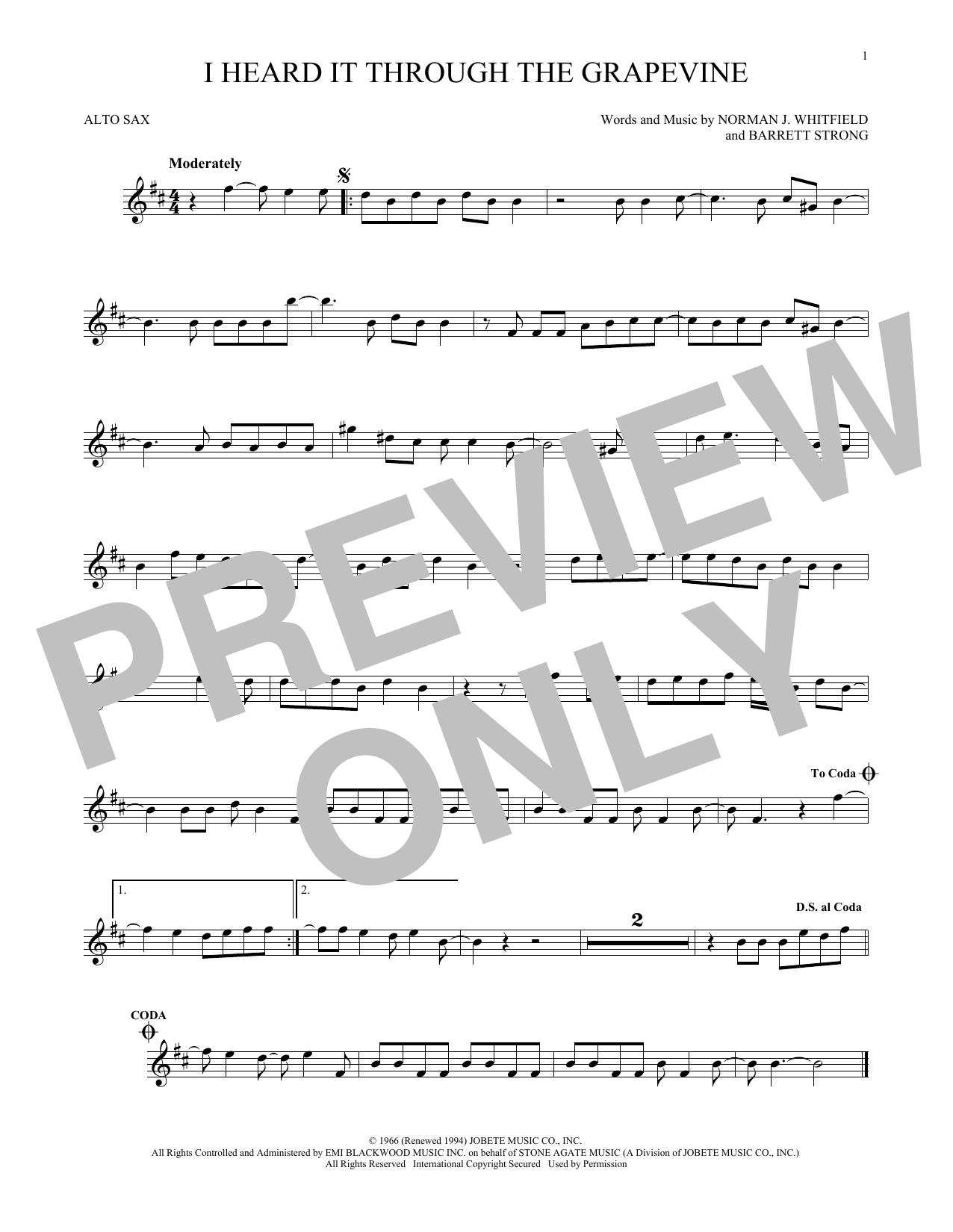 Partition saxophone I Heard It Through The Grapevine de Marvin Gaye - Sax Alto
