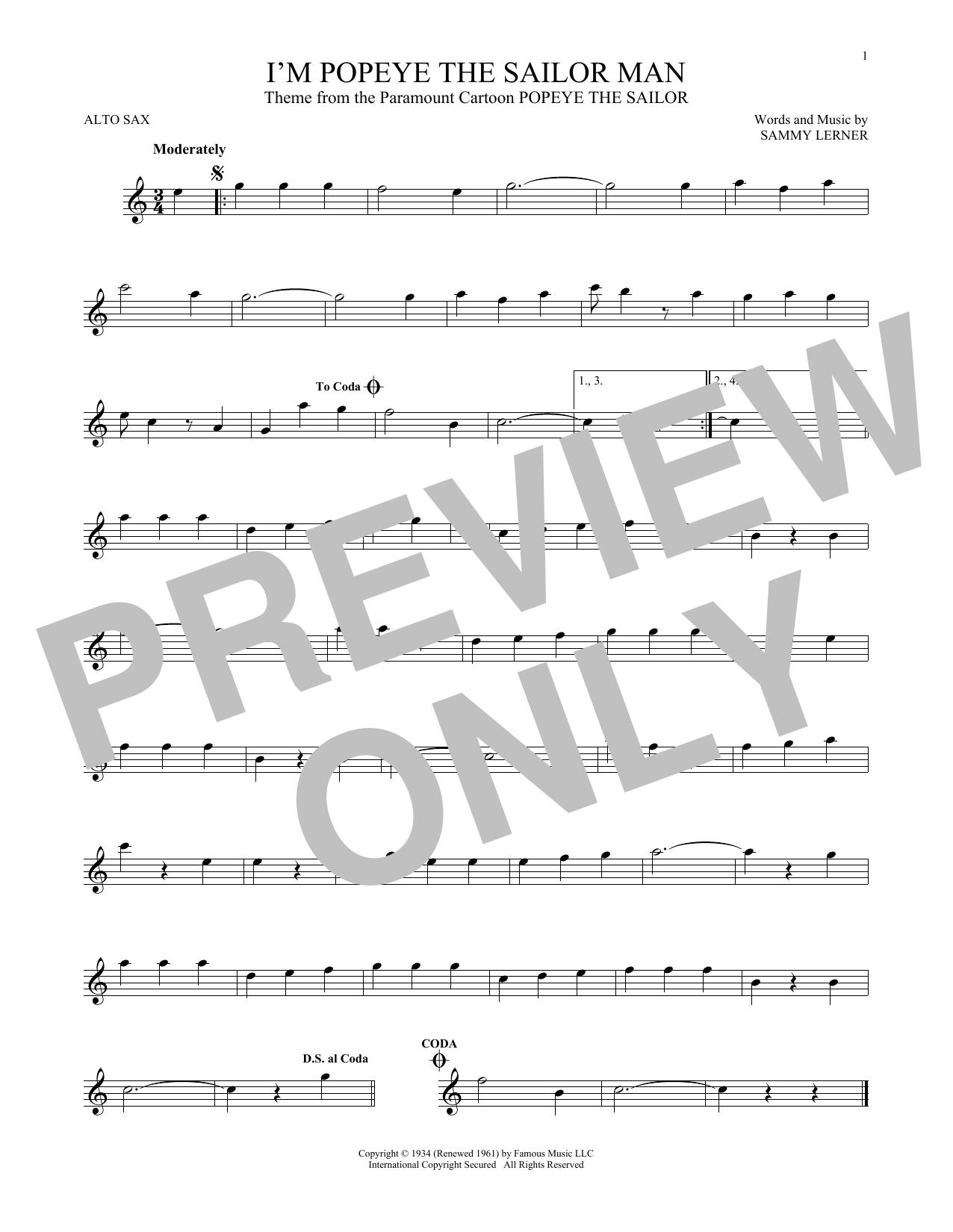 Partition saxophone I'm Popeye The Sailor Man de Sammy Lerner - Sax Alto