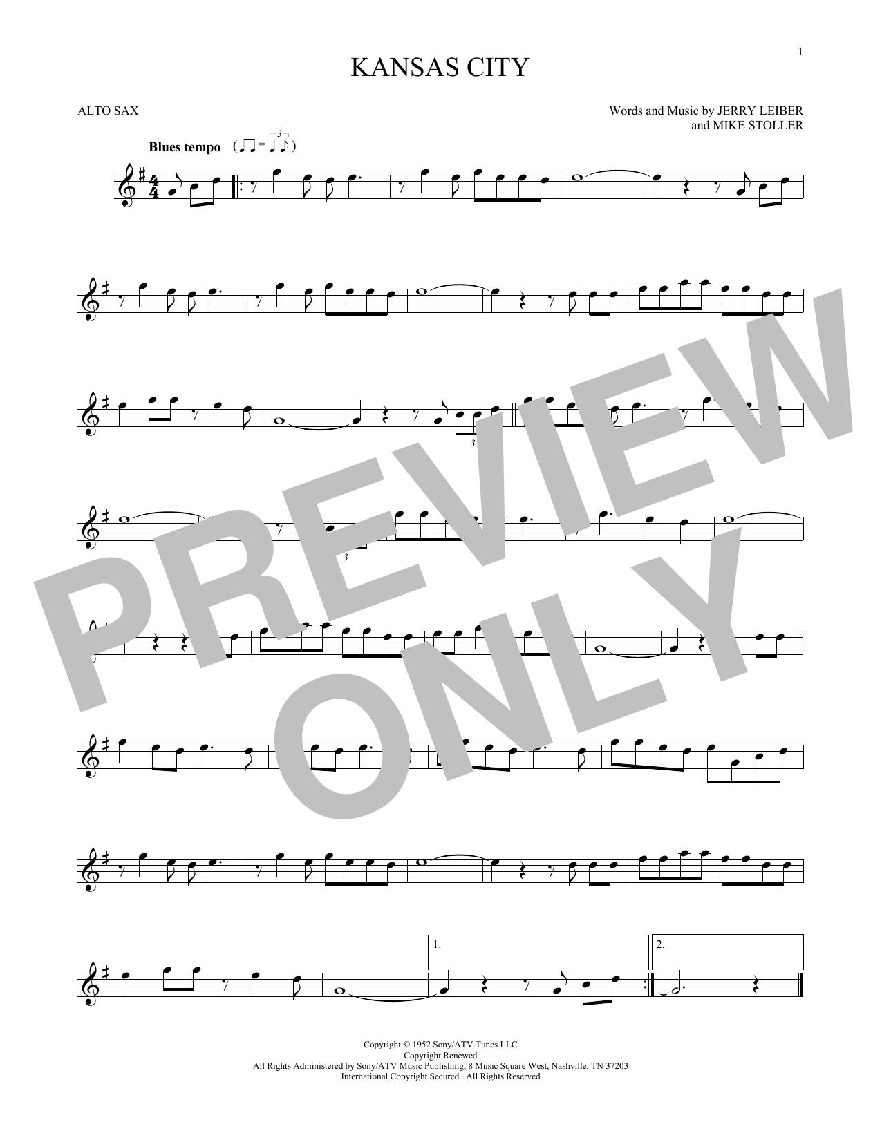 Partition saxophone Kansas City de Jerry Lieber & Mike Stoller - Sax Alto