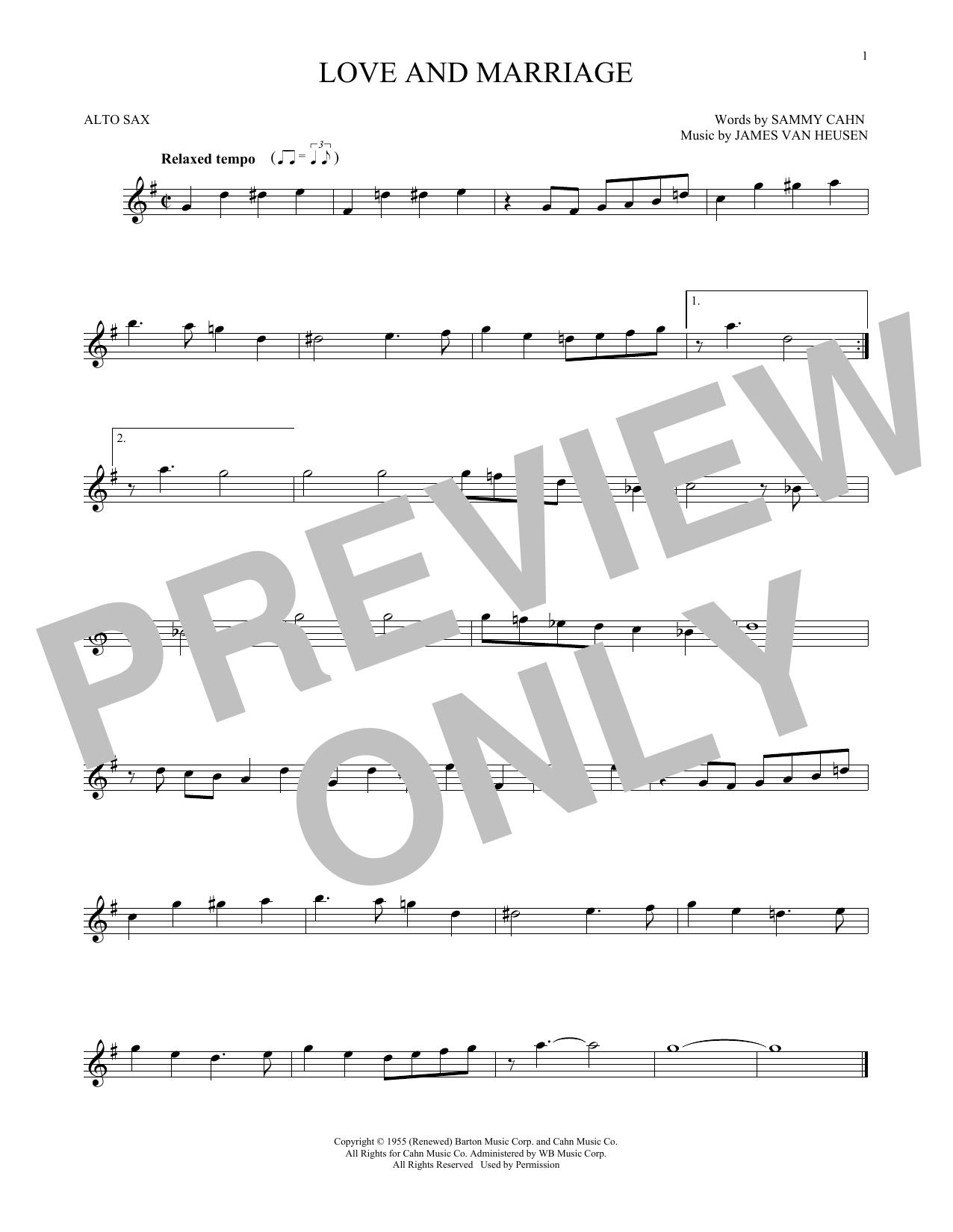 Partition saxophone Love And Marriage de Frank Sinatra - Sax Alto