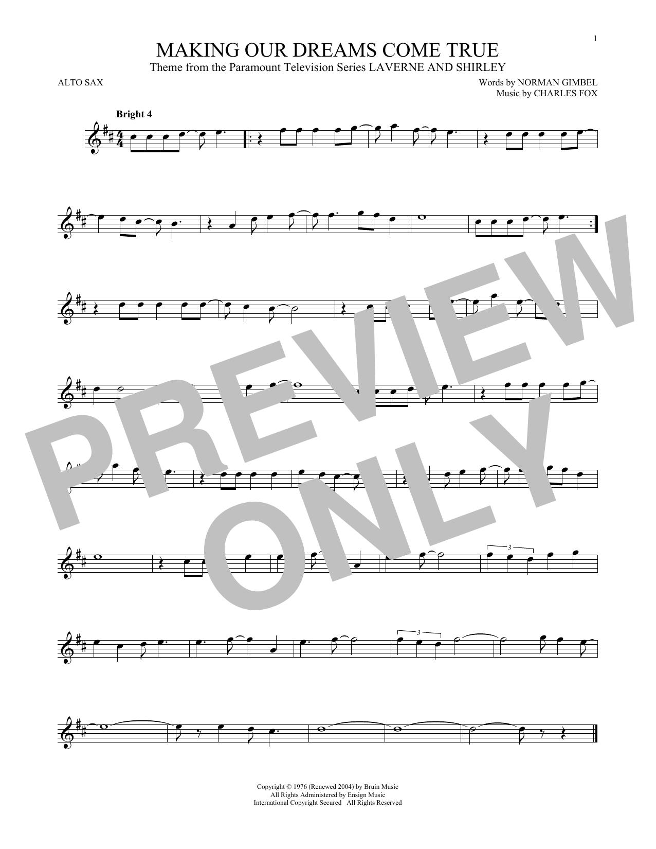 Partition saxophone Making Our Dreams Come True de Norman Gimbel & Charles Fox - Sax Alto
