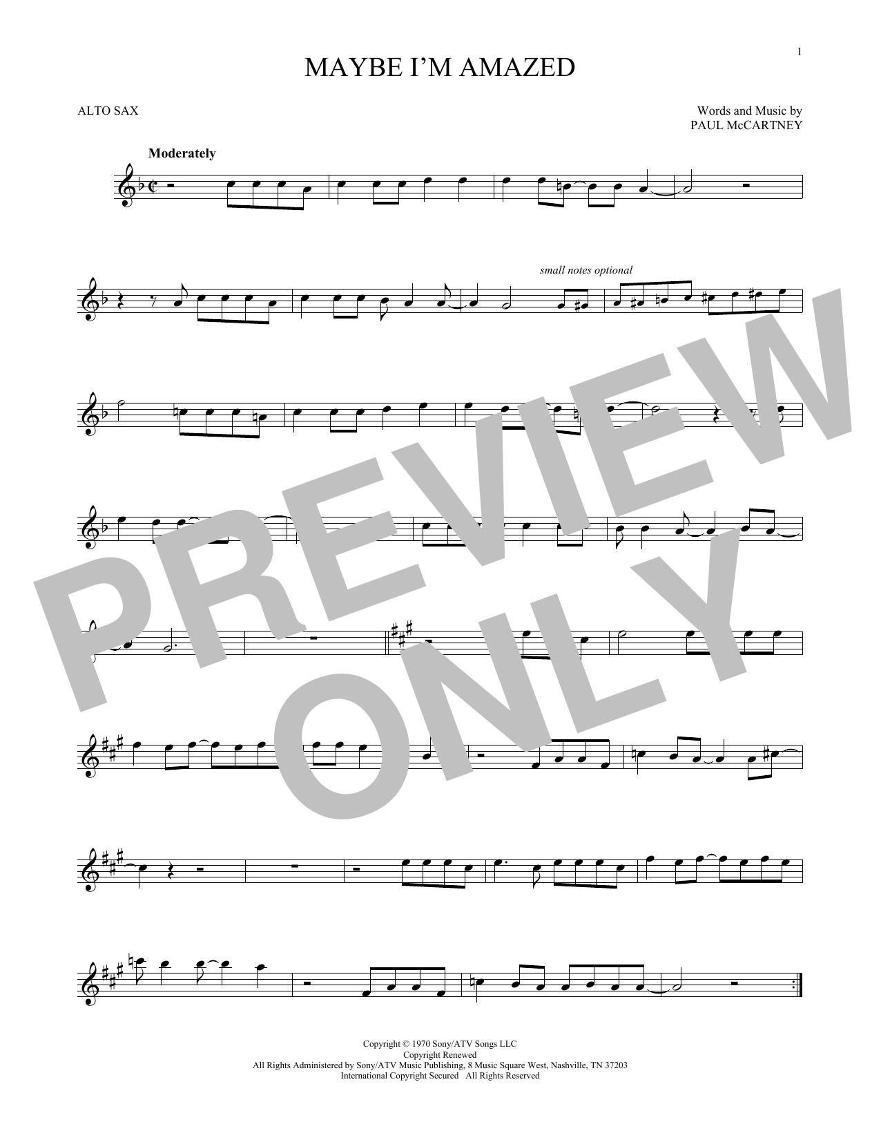 Partition saxophone Maybe I'm Amazed de Paul McCartney - Sax Alto