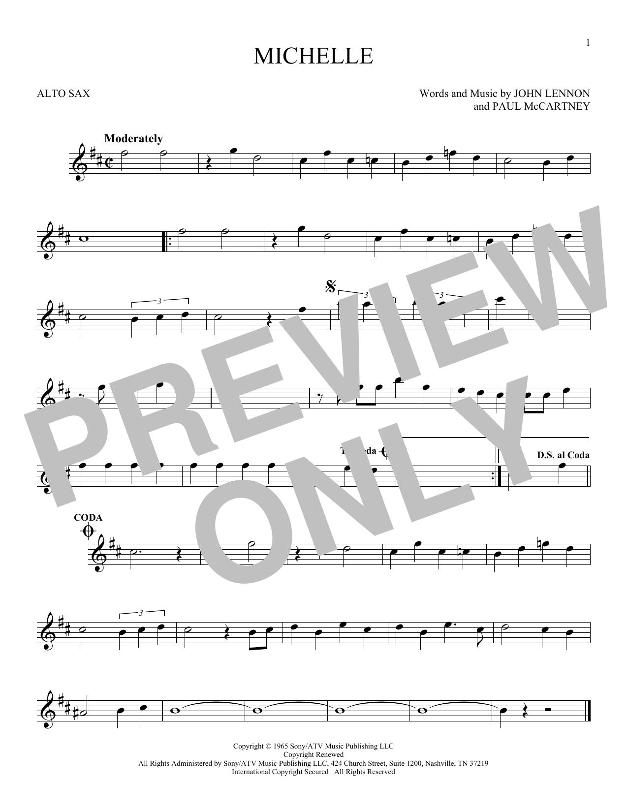 Partition saxophone Michelle de The Beatles - Sax Alto