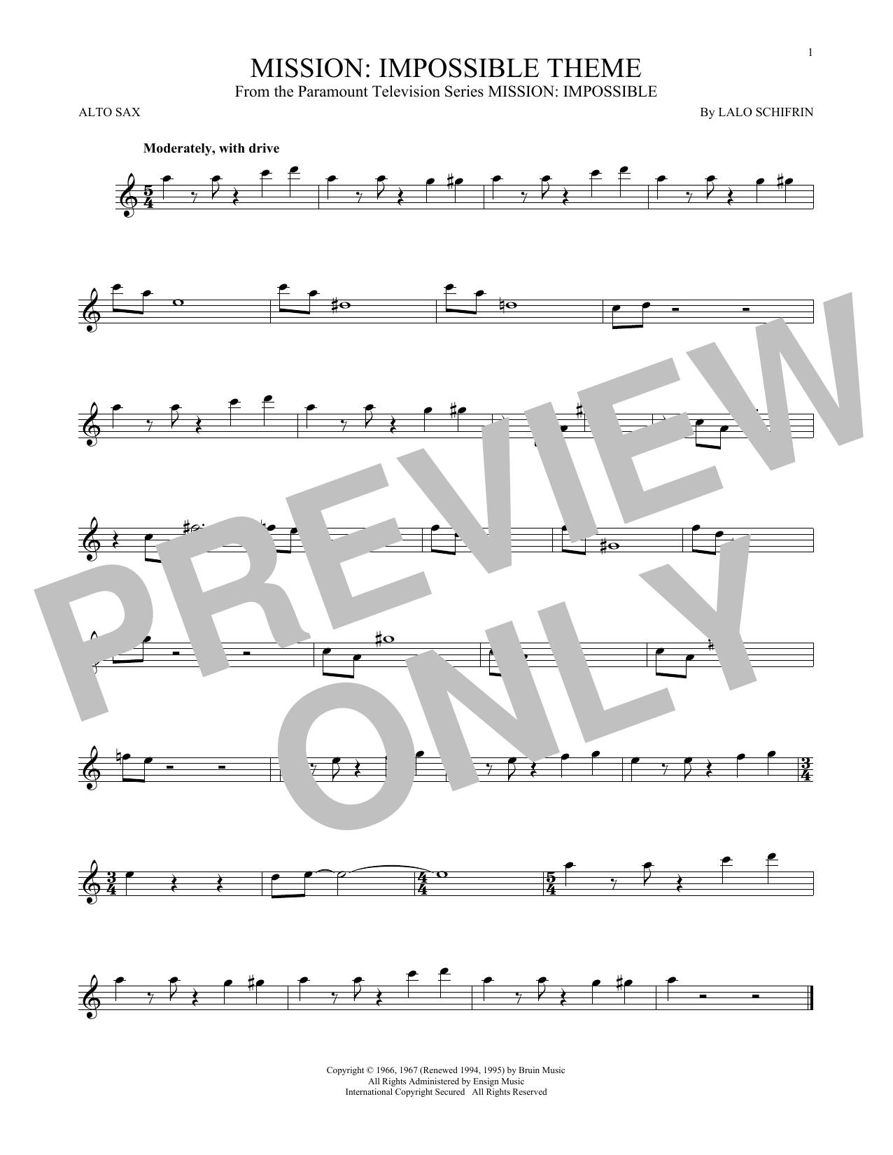 Partition saxophone Mission de Lalo Schifrin - Sax Alto