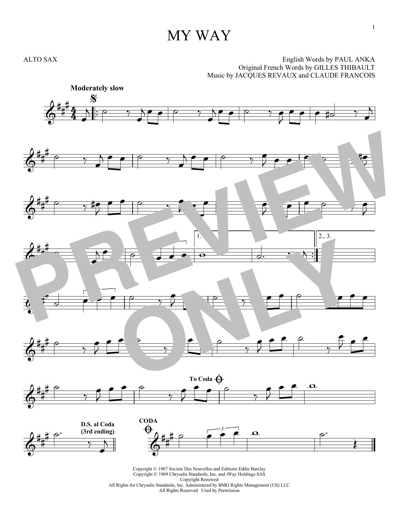 Partition saxophone My Way de Frank Sinatra - Sax Alto