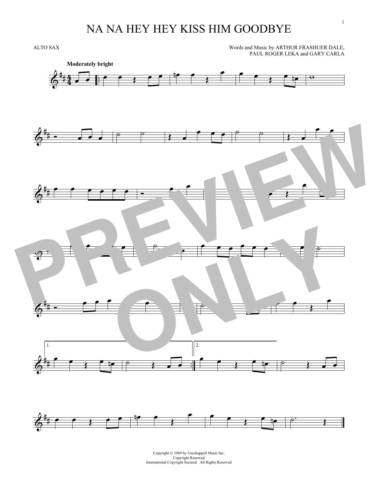 Partition saxophone Na Na Hey Hey Kiss Him Goodbye de Steam - Sax Alto