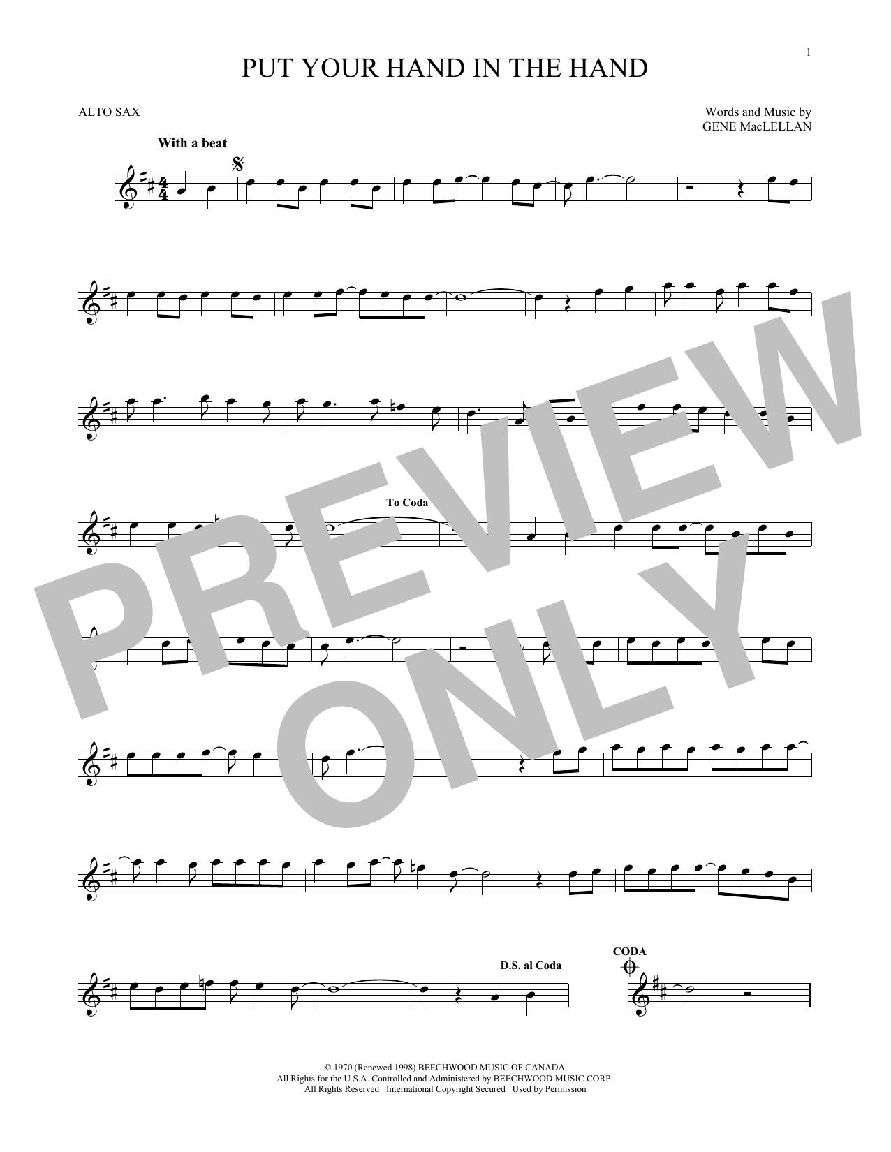 Partition saxophone Put Your Hand In The Hand de Ocean - Sax Alto