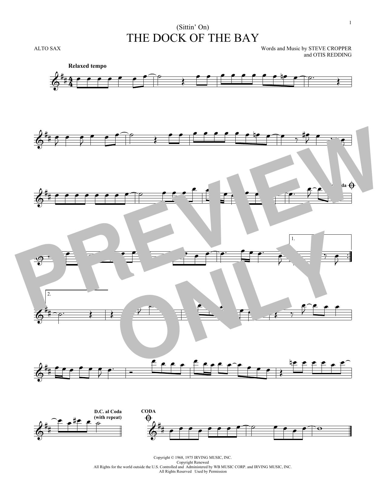 Partition saxophone (Sittin' On) The Dock Of The Bay de Otis Redding - Sax Alto
