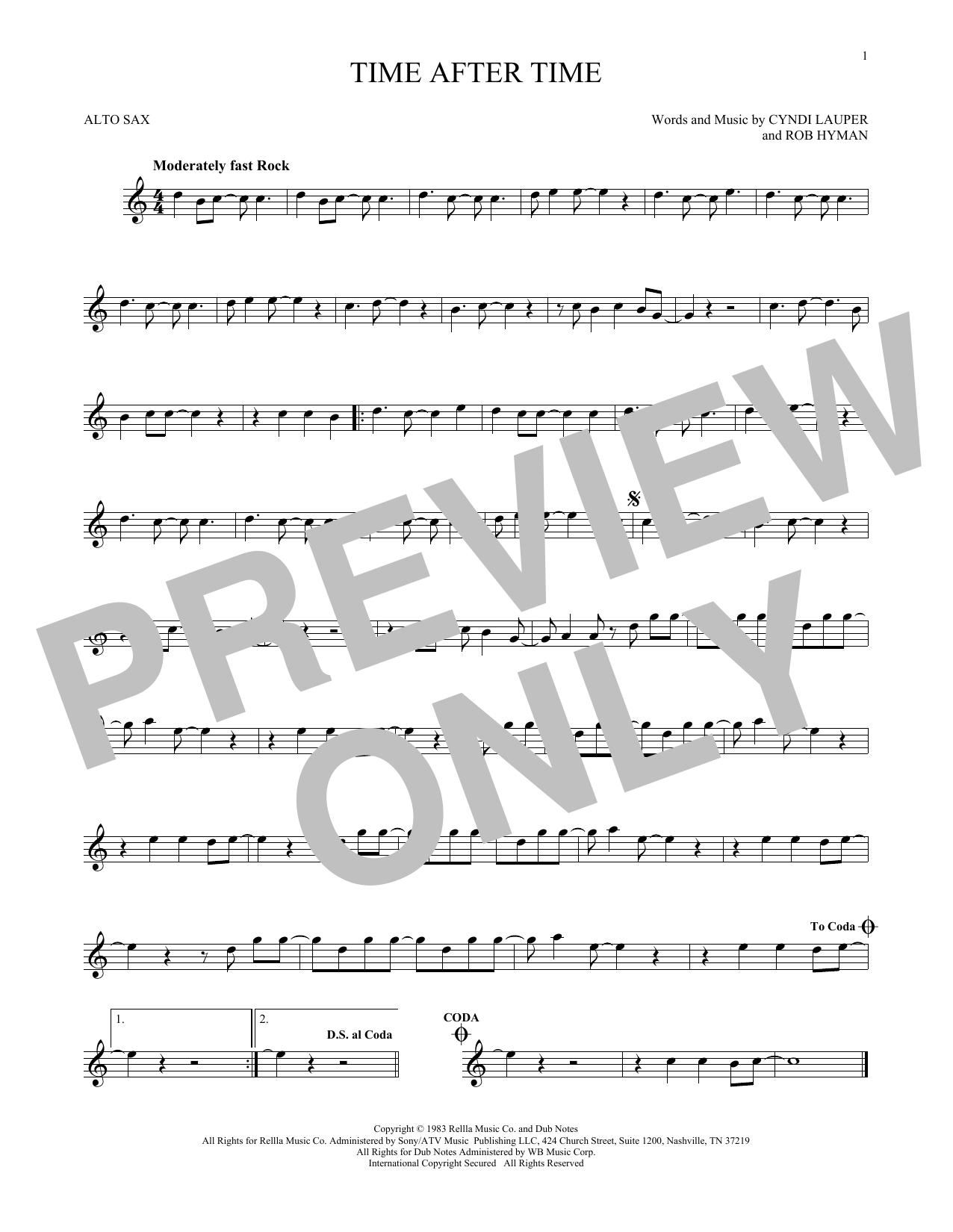 Partition saxophone Time After Time de Cyndi Lauper - Sax Alto