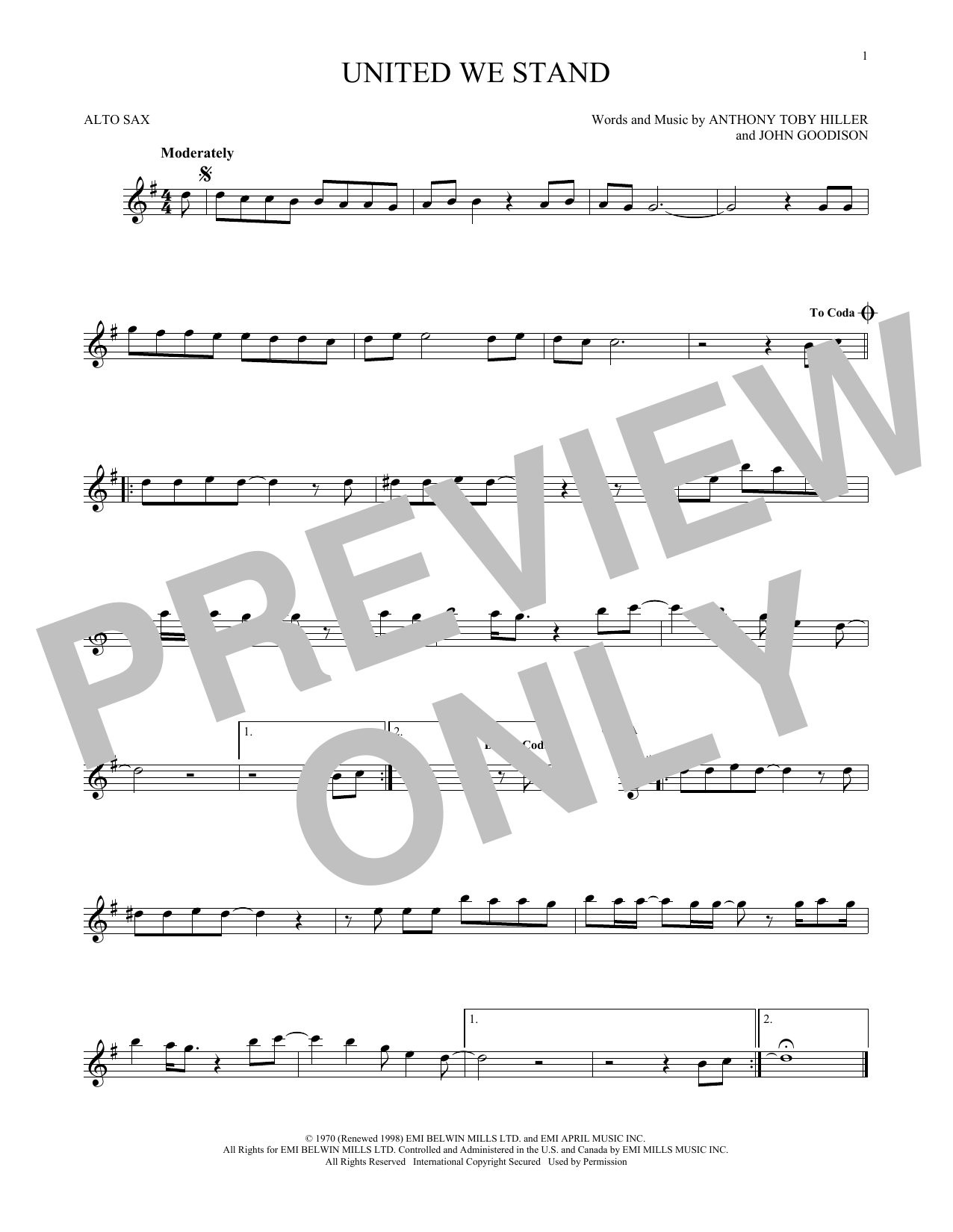 Partition saxophone United We Stand de Brotherhood Of Man - Sax Alto
