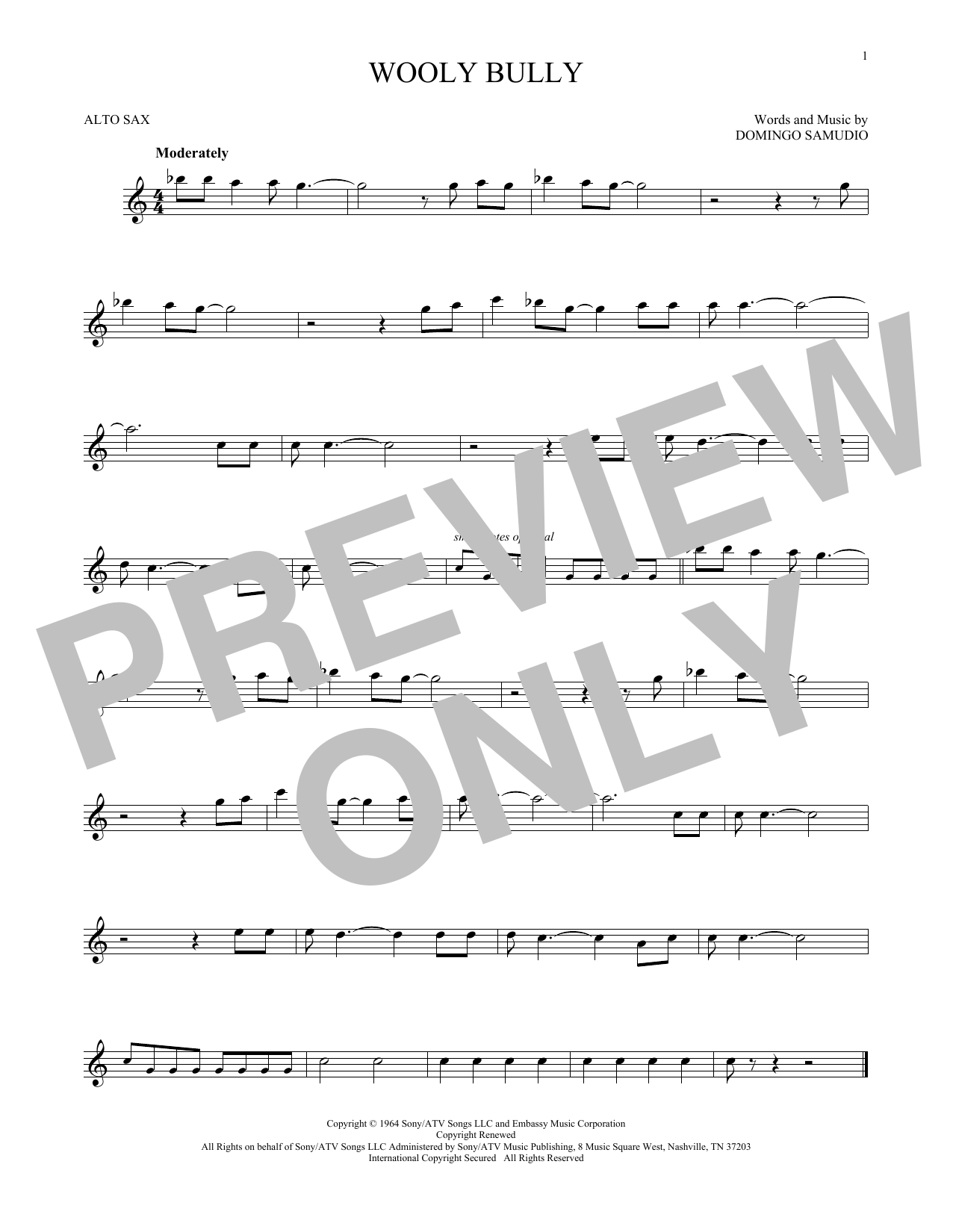Partition saxophone Wooly Bully de Sam The Sham & The Pharaohs - Sax Alto