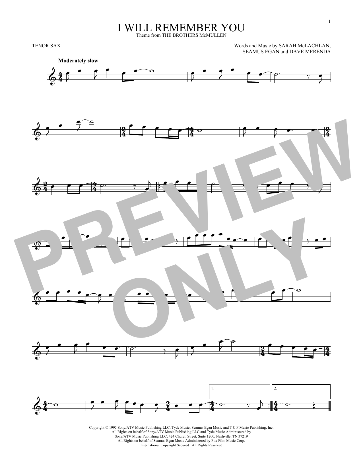 Partition saxophone I Will Remember You de Sarah McLachlan - Sax Tenor