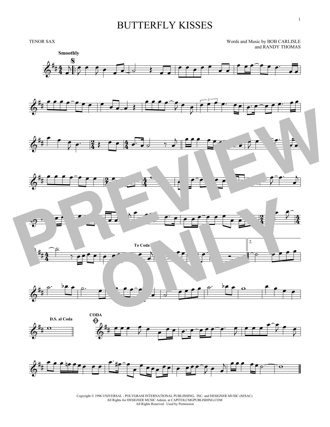 Partition saxophone Butterfly Kisses de Bob Carlisle - Sax Tenor