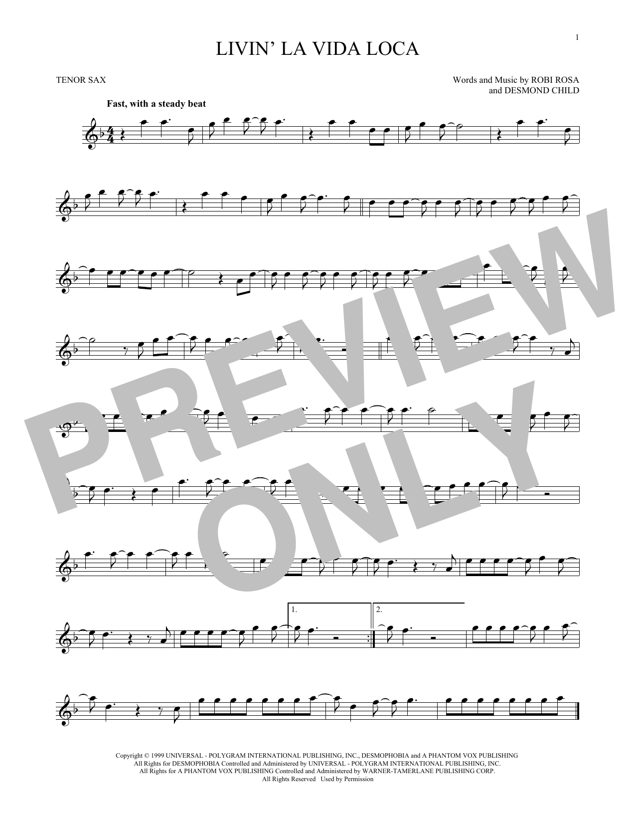 Partition saxophone Livin' La Vida Loca de Ricky Martin - Sax Tenor