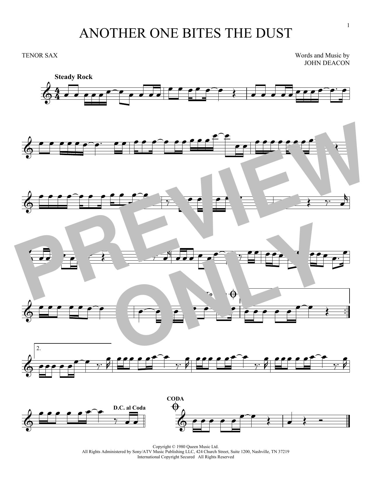 Partition saxophone Another One Bites The Dust de Queen - Sax Tenor