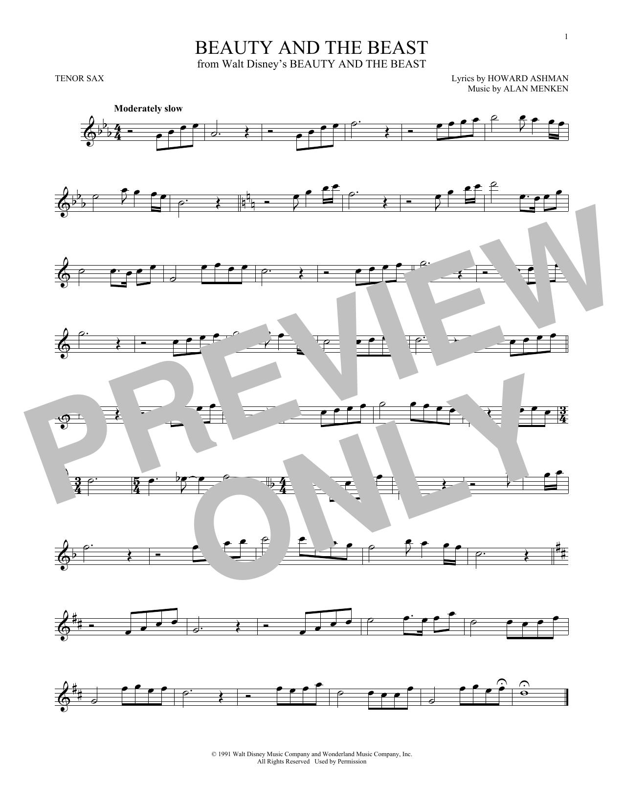 Partition saxophone Beauty And The Beast de Alan Menken - Sax Tenor