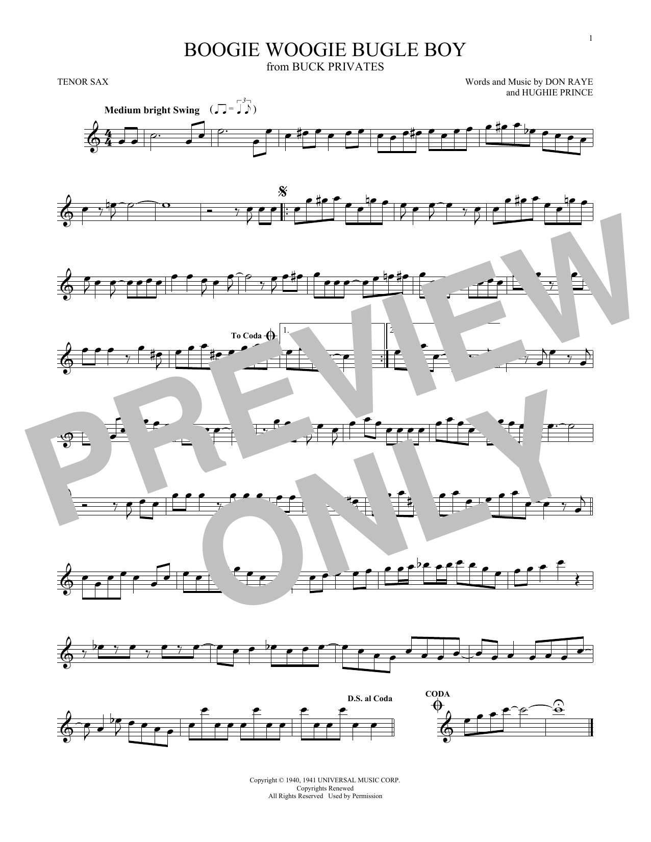 Partition saxophone Boogie Woogie Bugle Boy de The Andrews Sisters - Sax Tenor