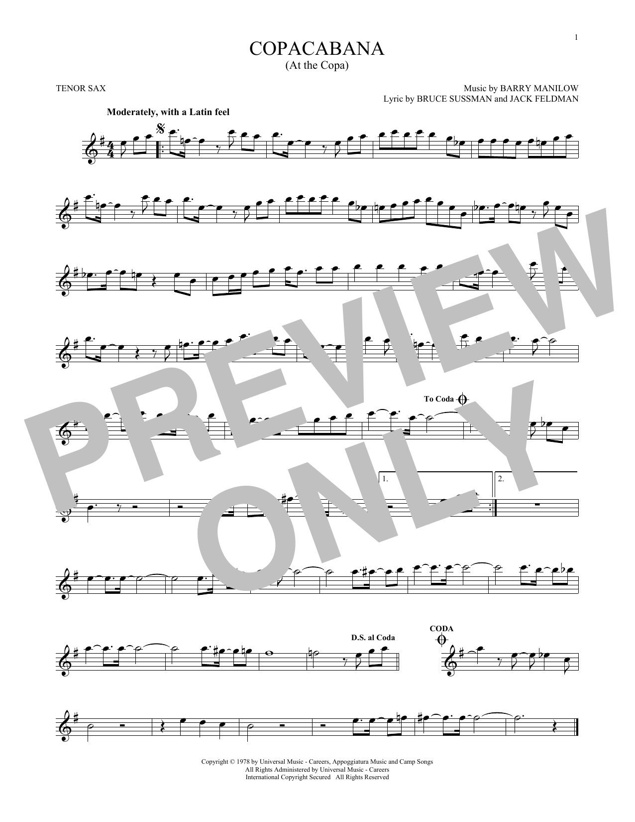Partition saxophone Copacabana (At The Copa) de Barry Manilow - Sax Tenor