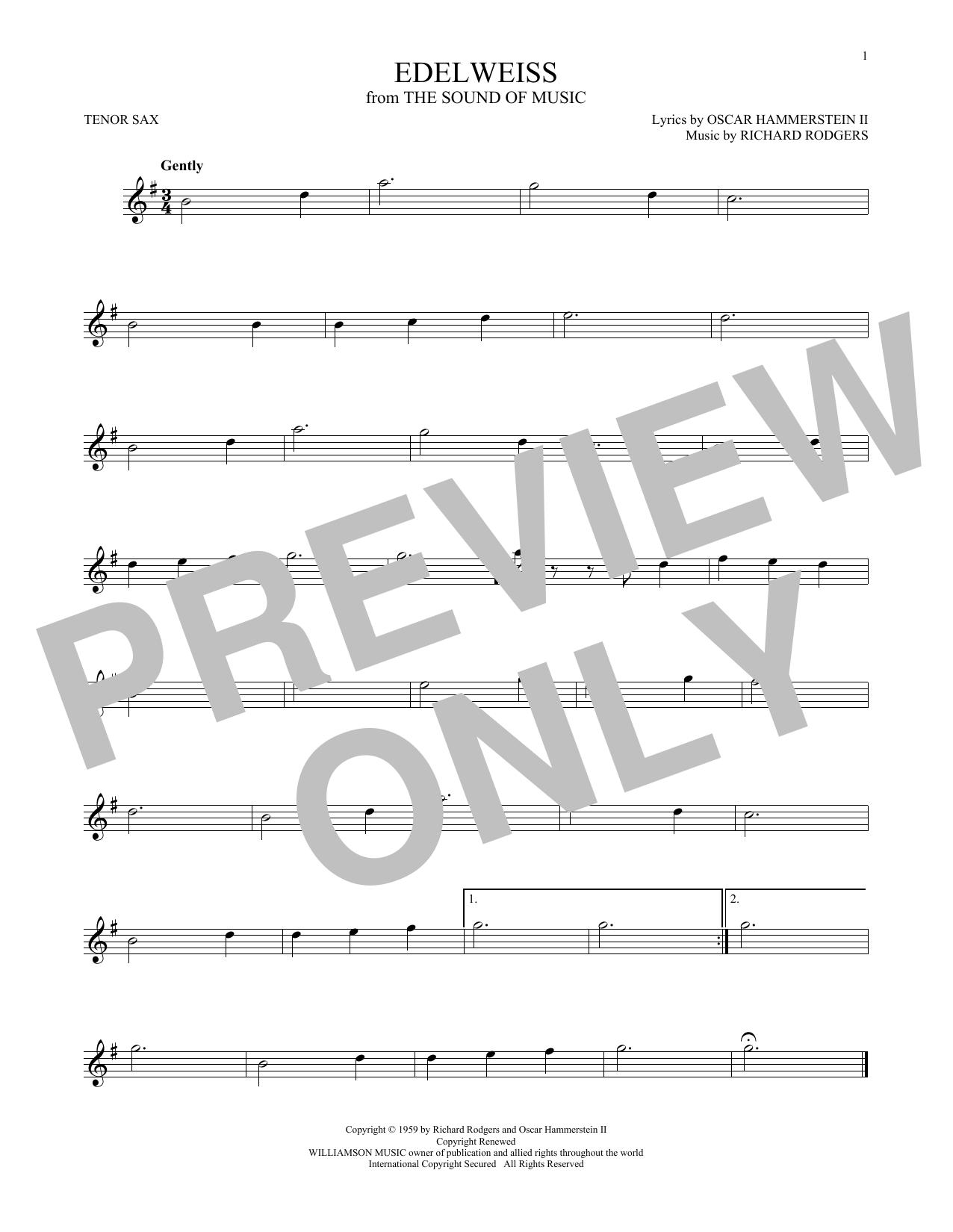 Partition saxophone Edelweiss de Rodgers & Hammerstein - Sax Tenor