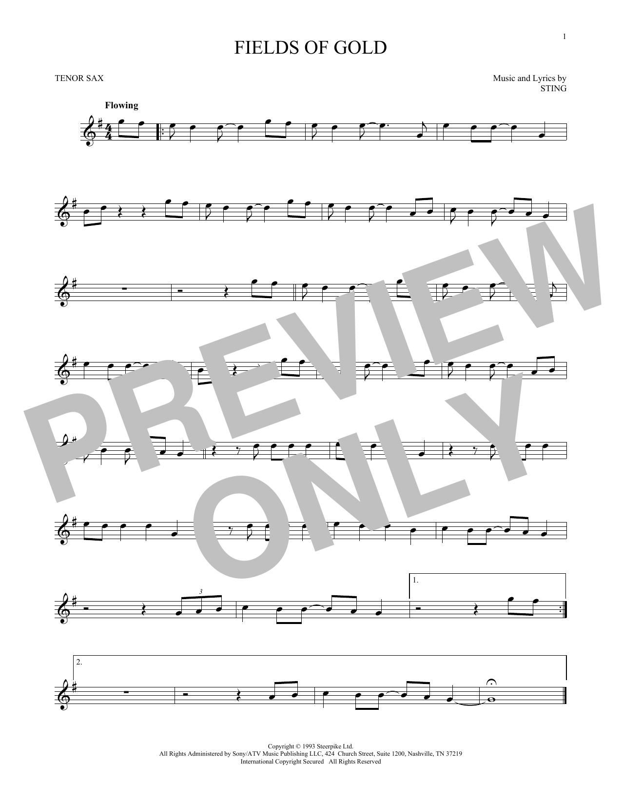 Partition saxophone Fields Of Gold de Sting - Sax Tenor