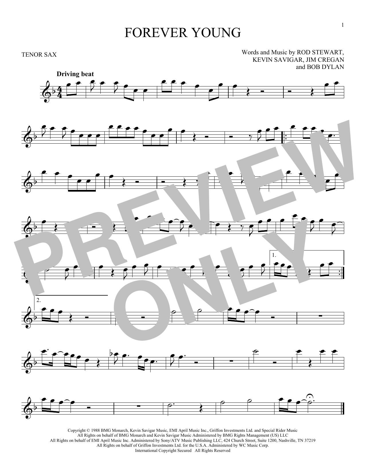 Partition saxophone Forever Young de Rod Stewart - Sax Tenor