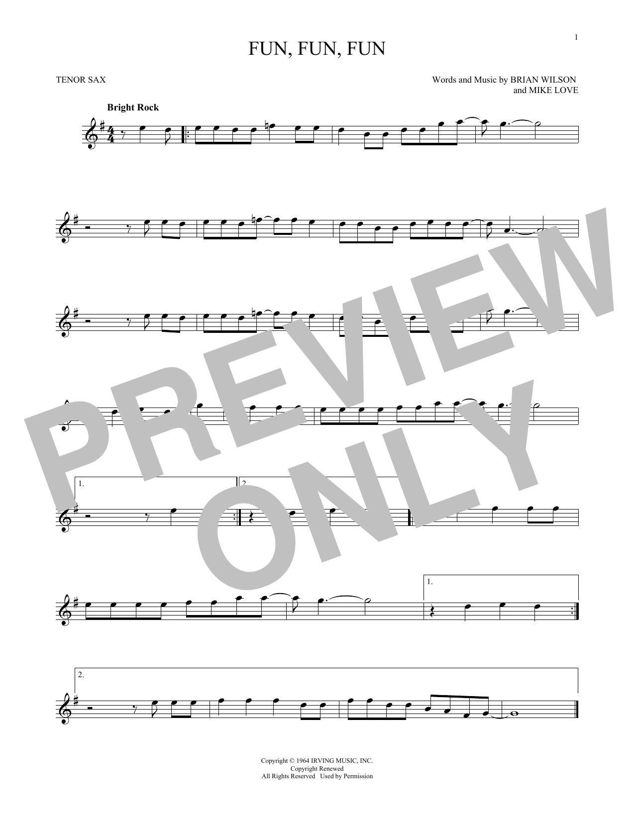 Partition saxophone Fun, Fun, Fun de The Beach Boys - Sax Tenor