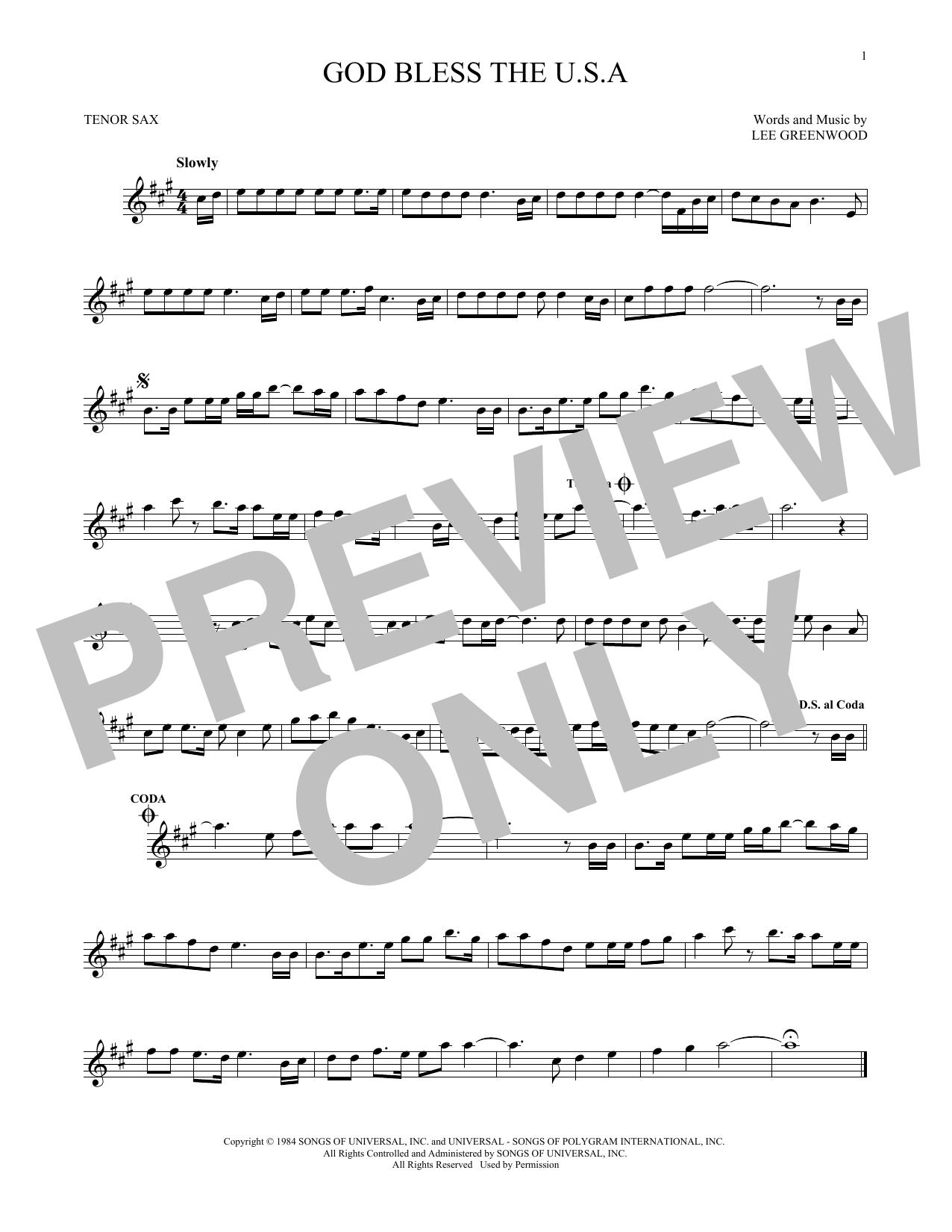 Partition saxophone God Bless The U.S.A. de Lee Greenwood - Sax Tenor